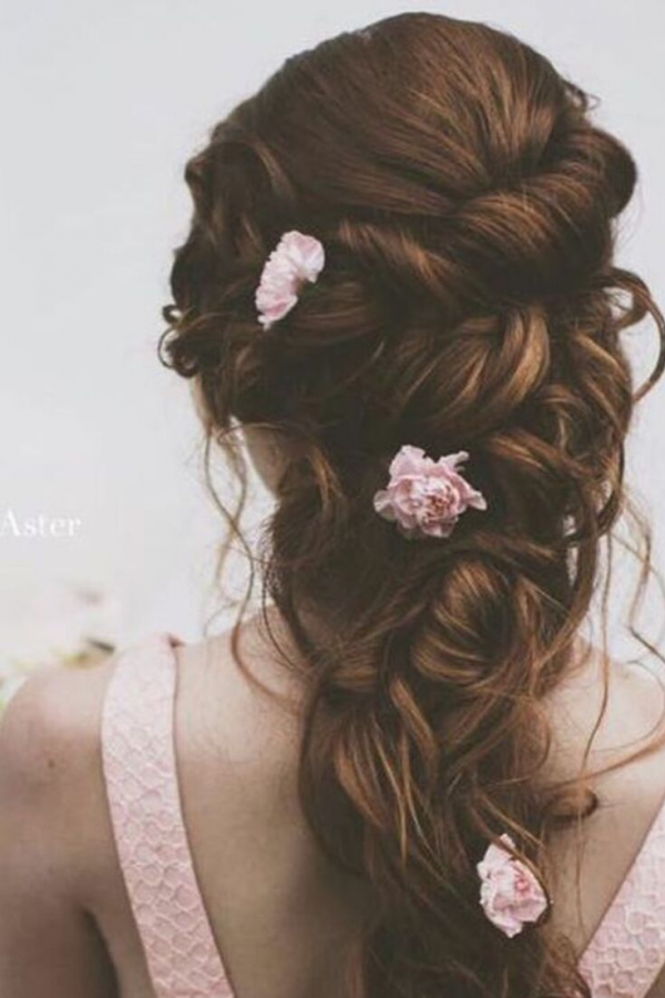 hairstyle fresh flowers small roses
